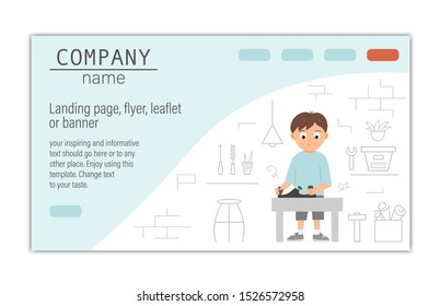 Flyer, card, banner or landing page template for building, repairing service company or craft masterclass website.  Vector flat illustration of a man plane with on workshop background.