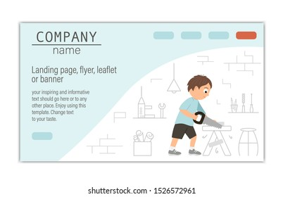 Flyer, card, banner or landing page template for building, repairing service company or craft masterclass website.  Vector flat illustration of a man sawing wood with a saw on workshop background.