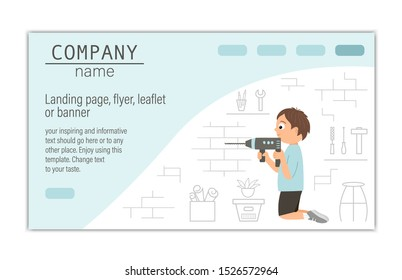 Flyer, card, banner or landing page template for building, repairing service company or craft masterclass website.  Vector flat illustration of a man drilling a brick wall on workshop background.