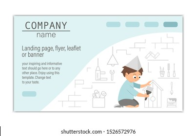 Flyer, card, banner or landing page template for building, repairing service company or craft masterclass website.  Vector flat illustration of a man painting a nestling box on workshop background.