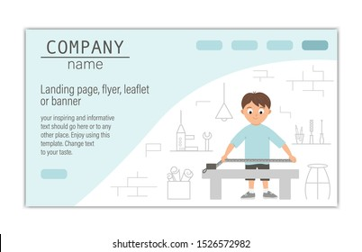 Flyer, card, banner or landing page template for building, repairing service company or craft masterclass website.  Vector flat illustration of a man taking measurements on workshop background.