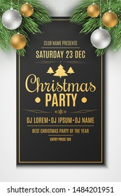 Flyer for Christmas party. Christmas concept. Festive balls with snow dust. Fir tree. DJ and club. Greeting card. Golden lettering. Vector illustration. EPS 10