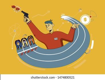 Flyer Coaching Marathon to Achieve Goal Cartoon. Banner Closeup Man Shooting Starting Pistol. People Prepared to Run Race on Treadmill. Men are Waiting for Start. Vector Illustration.