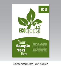 Flyer or cover design green house. Brochure or report for business, template vector.  Ecology concept.
