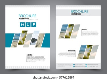Flyer design. Business brochure template. Annual report cover. Booklet for education, advertisement, presentation, magazine page. a4 size vector illustration. Blue color