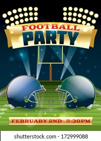 A flyer design perfect for tailgate parties, football invites, etc. EPS 10. EPS file contains transparencies and gradient mesh. Text in EPS is layered for easy removal and customizing of your text.