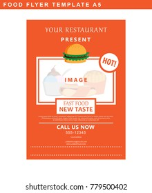 Flyer design of restaurant decorated with space for picture and text. Vector illustration