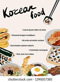 Flyer design with set of Korean dishes. Traditional Korean dishes bibimbap, hotteok, kimchi, oden, galbi-gui, guksu, gimbap. Vector hand drawn illustration.