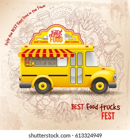 Flyer design template for Food truck. Cute vintage food truck on background with doodle on fast food theme. Vector illustration. For ad flyers and banners design.