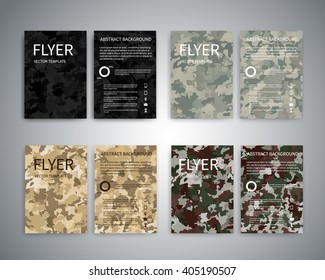 Flyer design templates. Set of A4 brochure flyer design templates with geometric abstract military backgrounds.  Infographic concept, mobile technologies, for advertising, reporting, corporate style
