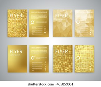 Flyer design templates. Set of A4 brochure flyer design templates with geometric abstract modern backgrounds. Design for advertising, publications, Infographic concept, technologies, reporting EPS10