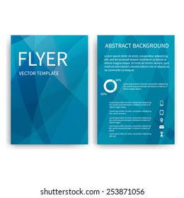 Flyer design templates. Set of blue A4 brochure design templates with geometric triangular abstract modern backgrounds. Infographic concept, mobile technologies, applications and online services