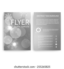Flyer design templates. Set of Christmas silver A4 brochure design templates with bokeh lights and snowflakes abstract modern backgrounds