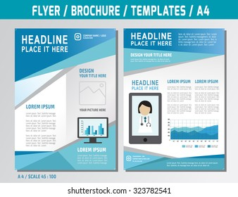 Flyer design vector template in A4 size. Brochure booklet cover annual report layout. Medical concept illustration.