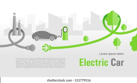 Flyer electric car silhouette car and cable plug charging city background