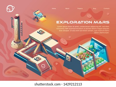 Flyer Exploration Mars Lettering Flat Cartoon. Reenhouse for Growing Green Plants on Uninhabited Planets. Successful Establishment Permanent Research Base. Vector Illustration Landing Page.