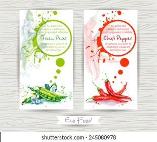 Flyer with green peas and chili pepper. Watercolor illustration.  Vector Poster Templates with Paint Splash and vegetables.