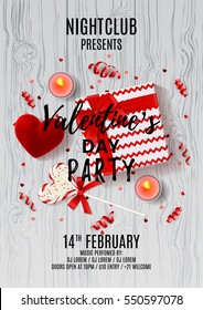 Flyer for Happy Valentine's Day party. Top view on gift box, lollipop and case for ring. Invitation to nightclub. Vector illustration with candles, confetti and serpentine.