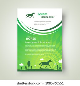 Flyer Horse grassland theme curves green color cover brochure design template