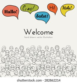 Flyer illustration of a group of Children and teenagers with speech clouds of different foreign languages. hand drawn vector illustration