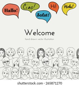 Flyer illustration of a group of women all ages with speech clouds of different foreign languages. hand drawn vector illustration