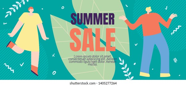 Flyer Inscription Summer Sales, Cartoon Flat. Fashionable Styles, Interesting Promotional Offers and Attractive Price. Girl and Guy are Glad at Favorable Prices. Vector Illustration.