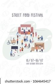 Flyer, invitation or poster template for summer street food festival with people walking between vans or caterers, buying meals, eating and drinking. Vector illustration for outdoor event promotion.