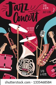 Flyer or invitation template for jazz music performance or concert with musical instruments and elegant lettering. Vector illustration in modern flat style for event promotion, advertisement.