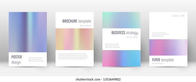 Flyer layout. Minimalistic mind-blowing template for Brochure, Annual Report, Magazine, Poster, Corporate Presentation, Portfolio, Flyer. Astonishing pastel hologram cover page.