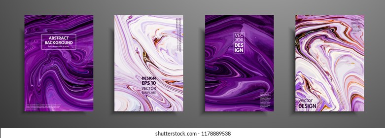 Flyer layout template with mixture of acrylic paints. Liquid marble texture. Fluid art. Applicable for design cover, flyer, poster, placard. Mixed blue, purple, orange and white paints.