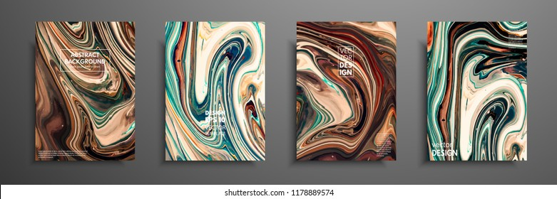 Flyer layout template with mixture of acrylic paints. Liquid marble texture. Fluid art. Applicable for design cover, flyer, poster, placard. Mixed green, brown and yellow paints.