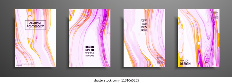 Flyer layout template with mixture of acrylic paints. Liquid marble texture. Fluid art. Applicable for design cover, flyer, poster, placard. Mixed pink, purple, orange and white paints.