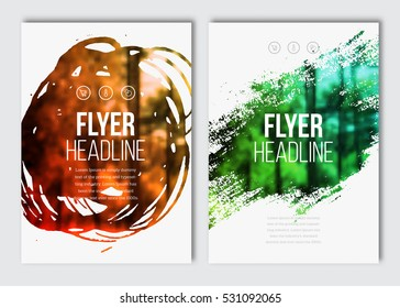 Flyer layout template. Vector brochure background with elements for magazine, cover, poster, layout design. Stain, blot, ink, watercolor with color effect.