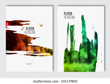 Flyer layout template. Vector brochure background with elements for magazine, cover, poster, layout design. A4 size. Stain, blot, ink, watercolor with color effect.
