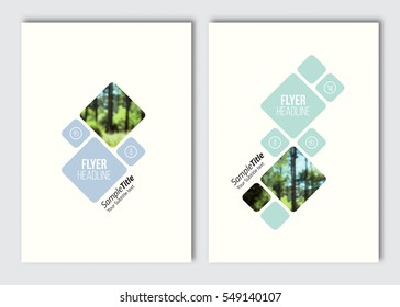 Flyer layout template. Vector brochure background with elements for magazine, cover, poster, layout, web design. A4 size. Blur background with color effect filter.