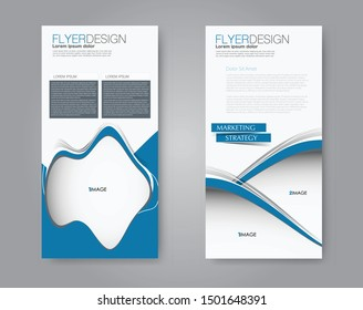 Flyer and leaflet design for business, education, presentation, promo, advertising. Set of two side brochure templates. Vertical banners. Blue colors. Vector illustration mockup.
