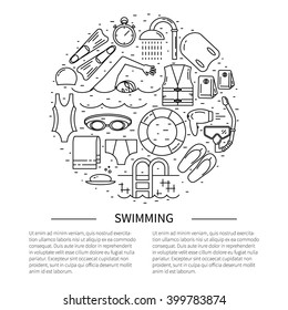 Flyer in line style.Swimming line icon vector illustration.