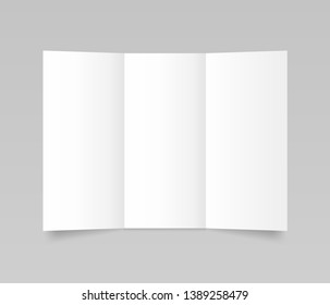 Flyer mockup, folded realistic blank sheet of paper template