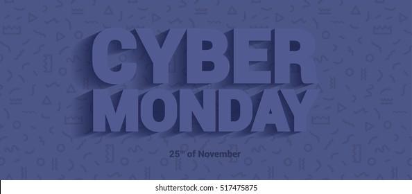 Flyer modern typography on cyber sale.