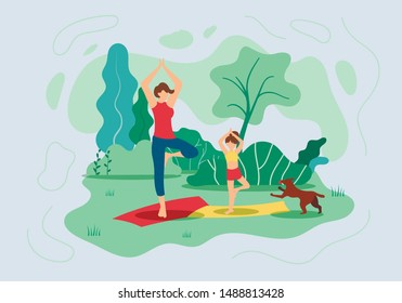 Flyer Mother and Daughter do Yoga in Nature Flat. Woman with Child Stand on Rug in Pose Asana. Young Mother and Daughter do Yoga  Park in Summer Dog Runs Next to. Vector Illustration.