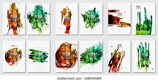 Flyer with paint stain template collection. Vector background for magazine, cover, poster design. Stain, blot, ink, watercolor with color effect.