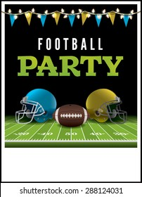 A flyer or poster for an American football party. Vector EPS 10. Vector file is layered. EPS file contains transparencies and gradient mesh.