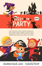 Flyer or poster template with cute happy little boys and girls dressed in halloween costumes and place for text. Colorful holiday vector illustration in flat cartoon style for party announcement