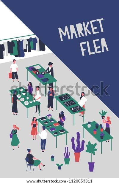 Flyer Poster Template Flea Market Rag Stock Vector Royalty