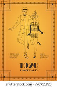 Flyer or poster template with pair of man and woman dressed in elegant clothing in 1920s style and dancing Charleston on orange background. Vector illustration for party invitation, event promotion.