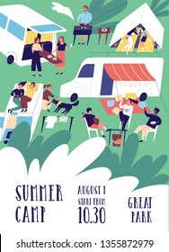 Flyer or poster template for summer camp festival with people or tourists living in tents, trailers, camper vans and RVs. Flat cartoon vector illustration for outdoor event promotion, advertisement.