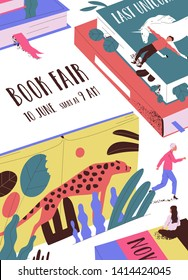 Flyer or poster template with tiny people, giant books and place for text. Book fair, market or exhibition, literature festival. Modern flat cartoon vector illustration for event announcement, promo.