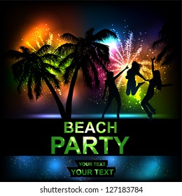 A flyer for a summer party. Salute- vector isolated on black background