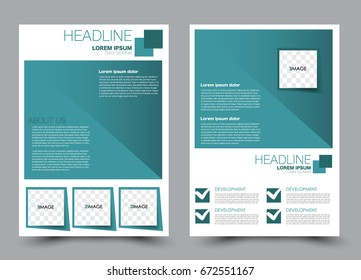 Flyer template a4 size. Business brochure design. Annual report cover. Vector illustration. Green color.