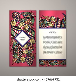 Flyer template with abstract ornament pattern. Vector greeting card design. Front page and back page.